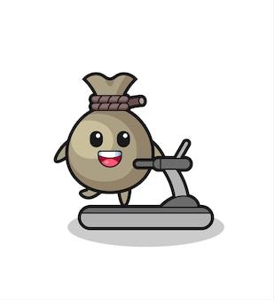 Geldsack-cartoon-figur, die auf dem laufband geht