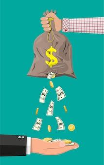 Geldsack mit loch. unternehmensversicherung