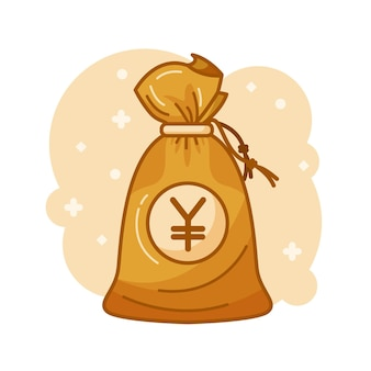 Geldsack mit yen-geld im inneren