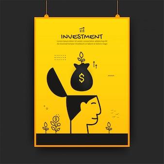 Geldsack schweben auf menschlichem kopf mit wachsenden pflanzen, investitionsplakatdesign