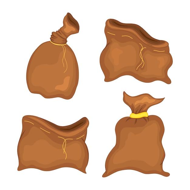 Geldsackikone, flache einfache karikaturillustration des moneybag. vektor-illustration