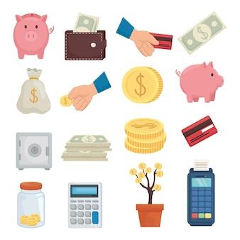 Geldsammlung von finanzgeschäft bankgeschäft und marktthema vektorillustration