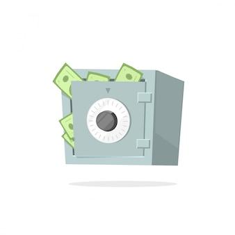 Geldschließfach-vektorillustration lokalisierte flache karikatur