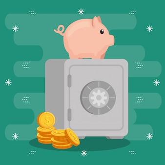 Geldschrank mit sparschwein und münzen
