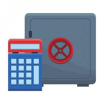 Geldschrank mit taschenrechner