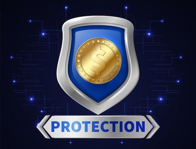 Geldschutz beim bankgeschäft. goldene münze in realistischem schild, sparen sie ihr geld. sicherheit von finanzanlagen-vektor-illustration. bank-finanzwächter, geldschildschutz