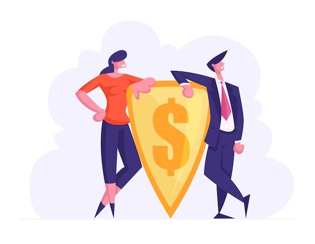 Geldschutz- und finanzverteidigungskonzept. geschäftsleute, die goldschild mit eingraviertem dollarzeichen halten