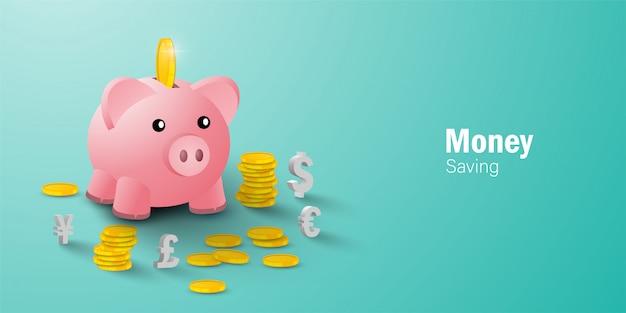 Geldsparendes konzept, einlegen einer münze in das sparschwein zwischen münze und währungszeichen