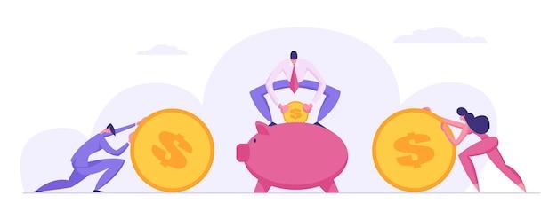 Geldsparendes konzept mit geschäftsmanncharakteren und sparschwein-illustration