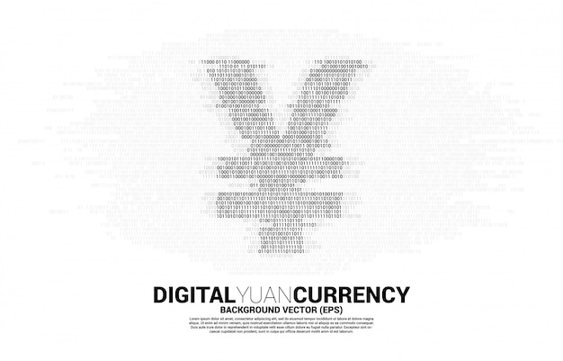Geldsymbol für digitale yuan-währung aus binärem null- und ein-code. konzept für china digital currency economy und finanznetzwerkverbindung.