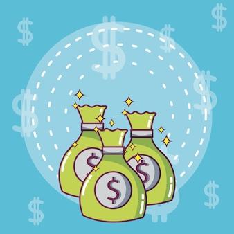 Geldtaschen und einsparungensvektorillustrations-grafikdesign