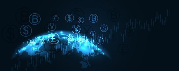 Geldtransfer, geldtransaktion, globales währungsnetzwerk, börsengeschäftskonzept