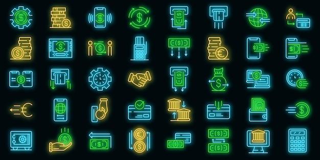 Geldtransfer-icons gesetzt. umrisse von geldtransfer-vektorsymbolen neonfarben auf schwarz