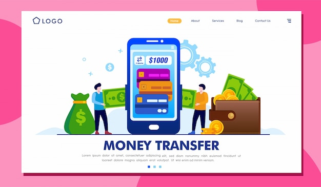 Geldtransfer landing page illustration vorlage