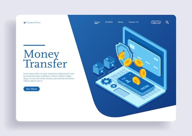Geldtransfer von kreditkarte auf handy im isometrischen vektordesign mit laptop