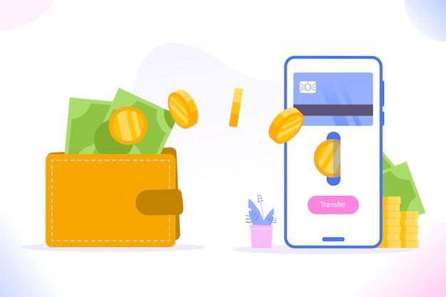 Geldtransfer zwischen brieftasche und plastikkarte