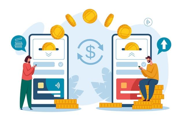 Geldüberweisung empfangen von zahlungen mit smartphone digitale bank elektronische geldbörse telefon-app-konzept