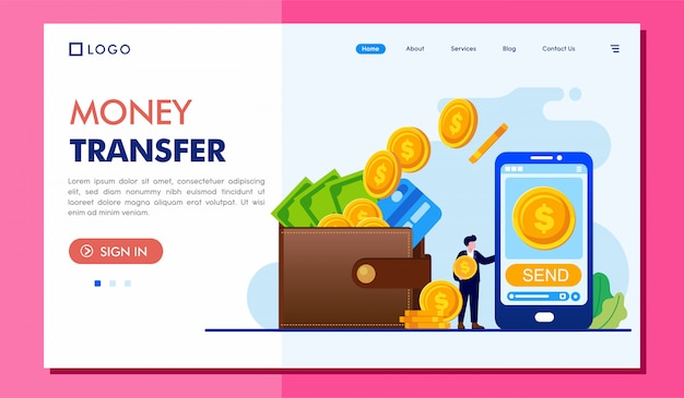 Geldüberweisung landing page website illustration template