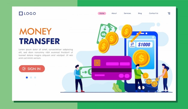 Geldüberweisung landing page website illustration