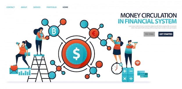 Geldumlauf im finanzsystem im modernen bankwesen, finanznetz in ländern und banken.