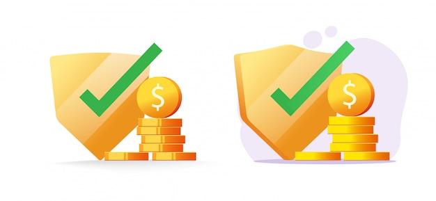 Geldversicherung finanzielle schutzgarantien, bargeld sichere investitionssicherheitsprüfung vektor flache illustration