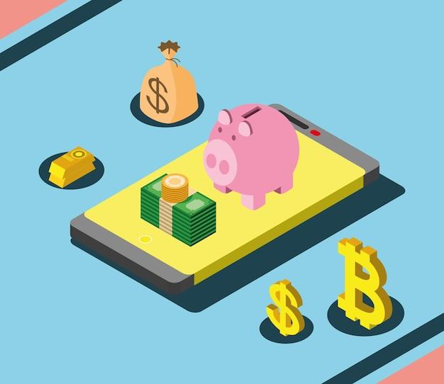 Geldwechsel digitales sparschwein