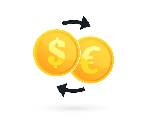 Geldwechsel. münze mit dollar, eurozeichen und pfeilen. geldwechsel im flachen stil. vektorillustration