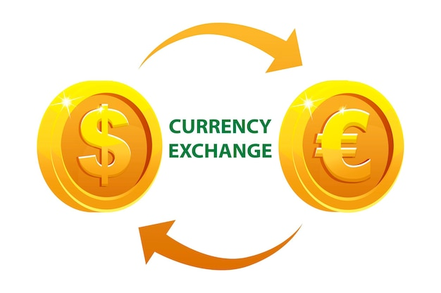 Geldwechsel oder gelddollar und euro. goldene runde währungsmünzen.