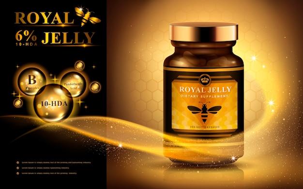 Gelée royale anzeige mit lichtstreifen und leuchtenden blasen, goldener hintergrund