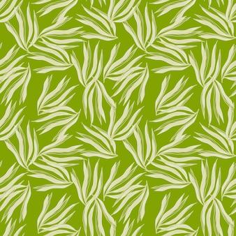 Gelegentliche algen nahtlose muster auf grünem hintergrund. meerespflanzen tapete. unterwasser-laub-hintergrund. design für stoff, textildruck, verpackung, abdeckung. vektor-illustration.