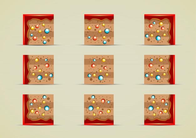 Gemahlene sprites mit süßigkeiten