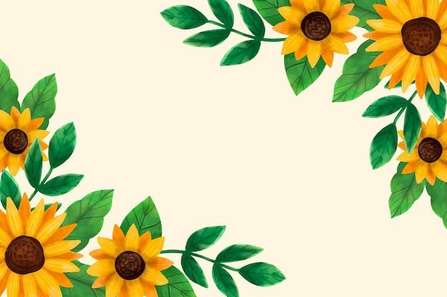 Gemalte aquarell-sonnenblumengrenze