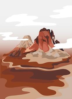 Gemalte bergblick-landschaftsillustration