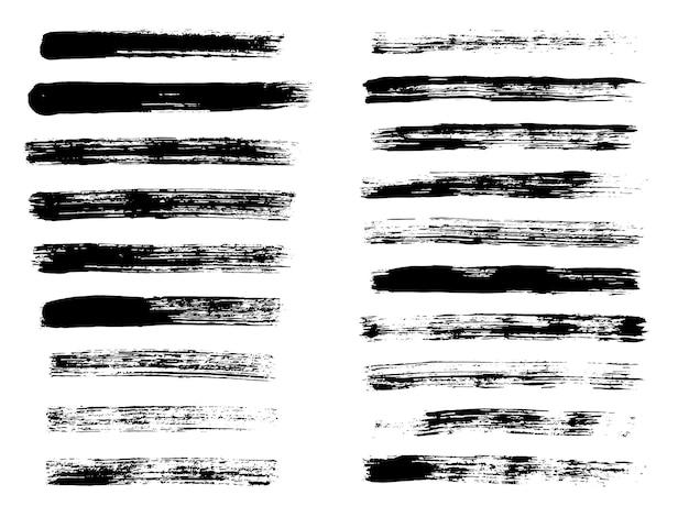 Gemalte grunge streifen schwarze etiketten hintergrund malen textur pinselstriche vektor handgemachtes design el...