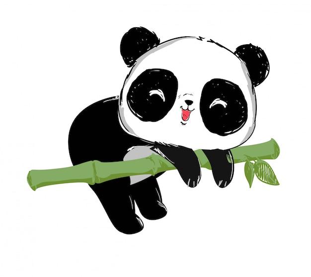 Gemalte nette pandabärn- und bambusillustration.