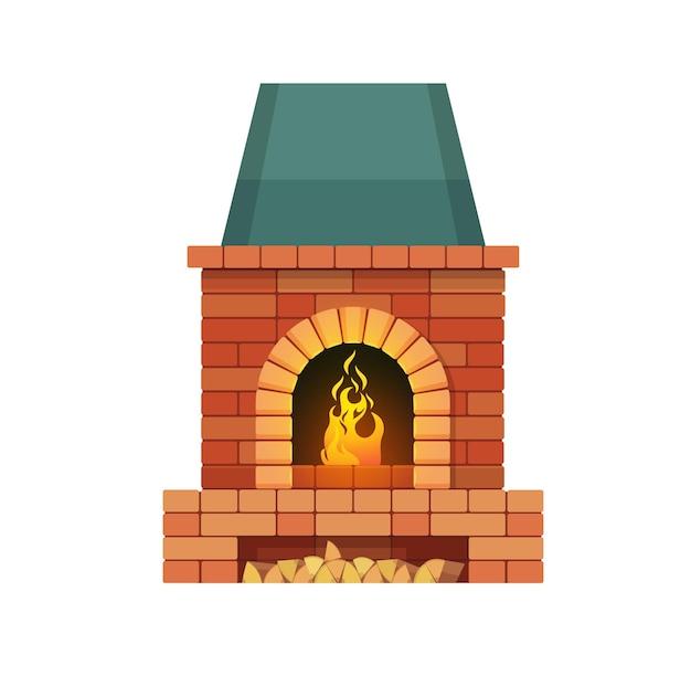 Gemauerter kamin mit brennholz und brennendem feuer
