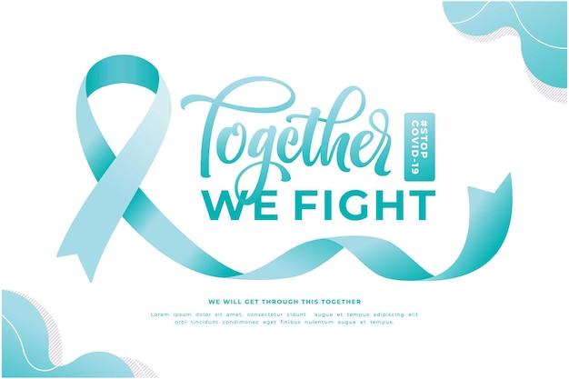 Gemeinsam bekämpfen wir die banner-vorlage für sensibilisierungskampagnen