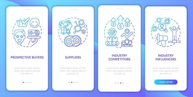 Gemeinsame sharing-sharer integrieren den seitenbildschirm der mobilen app mit konzepten. branchenbeeinflusser, rivalen walkthrough 4 schritte. ui-vorlage mit rgb-farben s