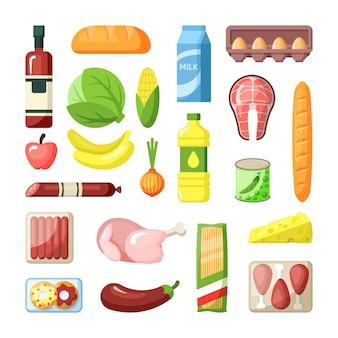 Gemeinsame supermarkt lebensmittelprodukte flache illustration set zutaten