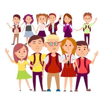 Gemeinsamer schnappschuss der klassenkameraden