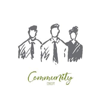 Gemeinschaftsillustration in der hand gezeichnet