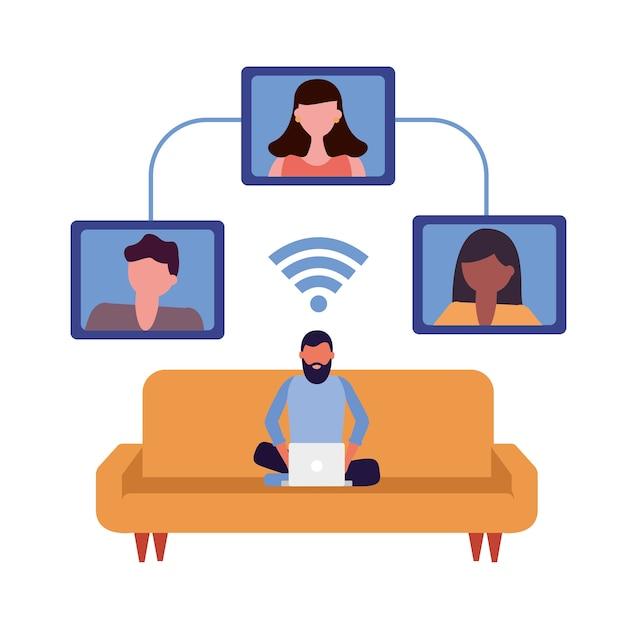 Gemeinschaftsleute, die technologiezeichenvektorillustrationsentwurf verbinden