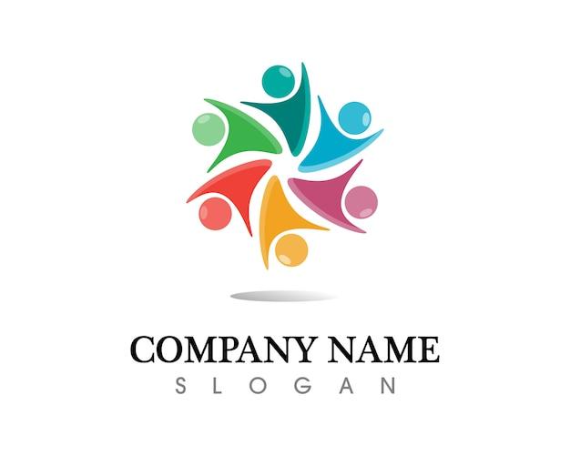 Gemeinschaftsleute interessieren sich logo und symbolschablone