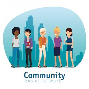 Gemeinschaftsleutefreunde mit sozialer mitteilung