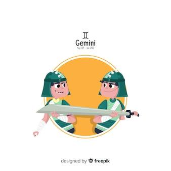 Gemini charakter hand gezeichnete stil