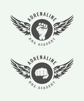 Gemischte kampfkunst-embleme