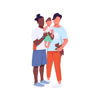 Gemischte rassenfamilie flache farbe gesichtslose charaktere. afroamerikaner und kaukasisches schwules paar mit kind. generation z isolierte cartoonillustration für webgrafikdesign und -animation