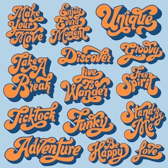 Gemischtes set motivierender typografie