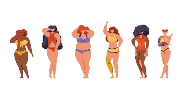 Gemischtrassige frauen unterschiedlicher größe, figurtyp und größe, gekleidet in bunten badeanzügen. körperpositive bewegung. beinprothesen, tätowierungen, vitiligo, cellulitis.