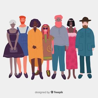 Gemischtrassige gruppe von verschiedenen menschen